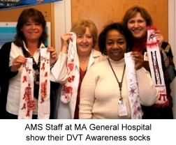AMS Staff at Massachusetts General Hospital show their DVT Awareness socks